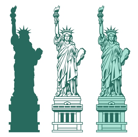 Set of the Statue of Liberty in New York City. Vettoriali