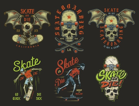 Conjunto de emblemas de skate.