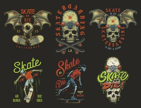 Ensemble d'emblèmes de skateboard