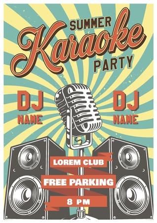 Karaoke vintage poster Ilustrace