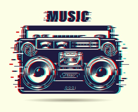 Grabadora de cinta de música Ilustración de vector