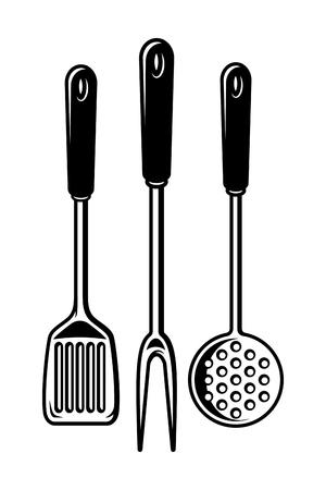 Vintage kitchen utensils collection Illustration