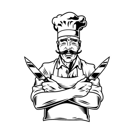 Vintage smiling chef holding knives