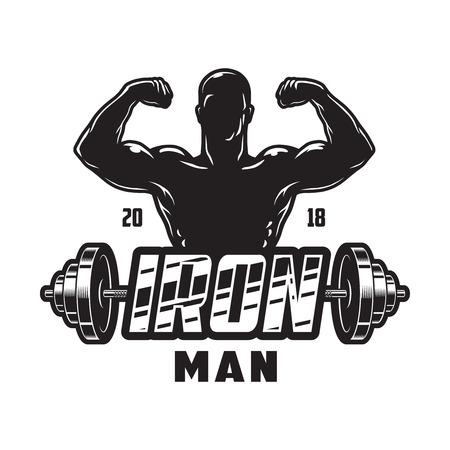 Vintage bodybuilding label template