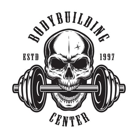Vintage monochrome bodybuilding emblem template