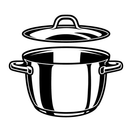 Modello monocromatico di padella da cucina Vettoriali