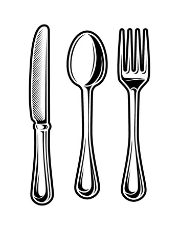 Vintage monochrome cutlery set  イラスト・ベクター素材