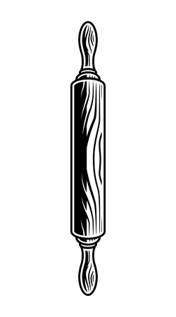 Vintage wooden rolling pin template Vector Illustration