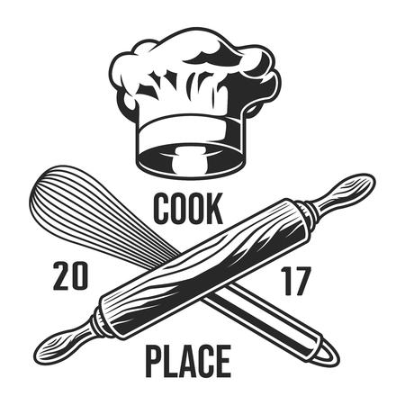 Vintage kitchen utensils emblem