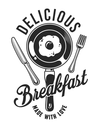 Vintage breakfast emblem Иллюстрация