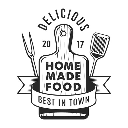 Monochromes Emblem der Weinlese-Küchenutensilien Vektorgrafik