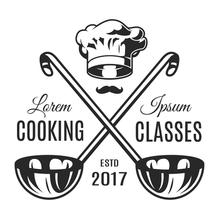Vintage monochrome cooking classes emblem
