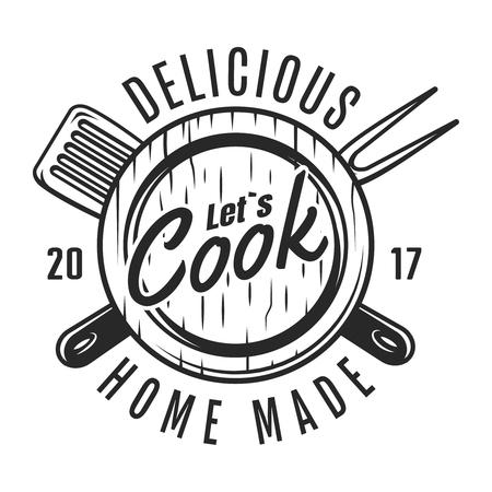 Vintage cooking tools badge Illustration