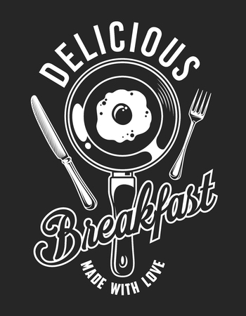 Vintage monochrome delicious breakfast emblem with omelette on pan knife and fork