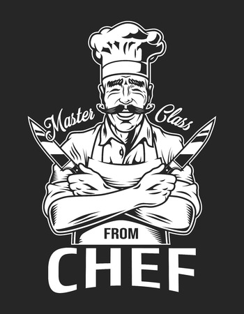 Vintage smiling chef  emblem with crossed arms holding knives in monochrome style