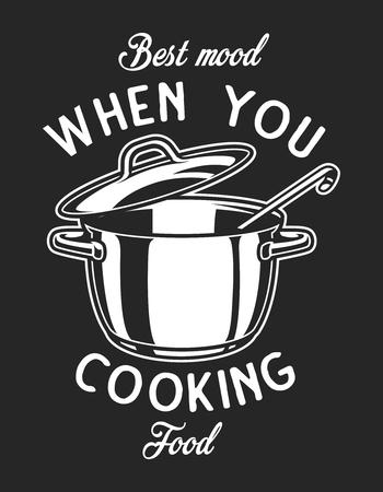 Vintage cookware monochrome  emblem with saucepan ladle and inscriptions  illustration