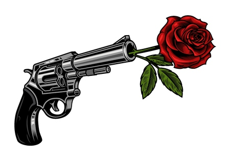 Gun with rose illustration isolated on white