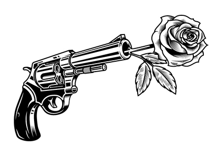 Revolver with rose illustration isolated on white 일러스트