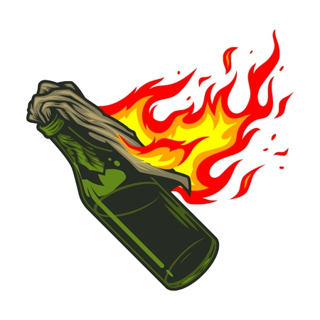 Molotov cocktail icon illustration
