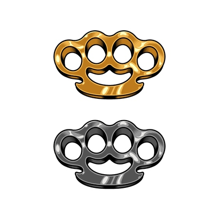Brass knuckles set illustration 向量圖像