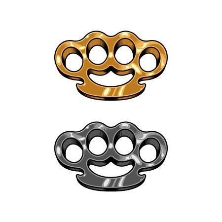 Brass knuckles set illustration Illustration