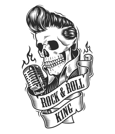 Human skull in rock and roll illustration