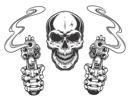 skull aiming with two revolvers illustration