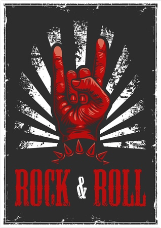 Hand in rock n roll sign illustration Çizim