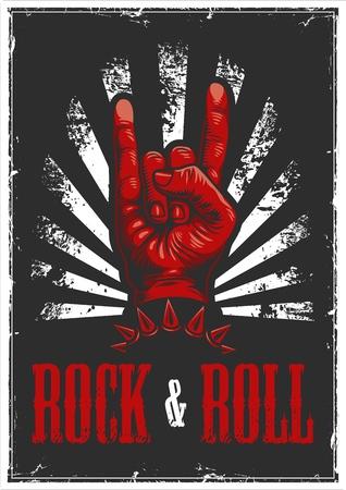 Hand in rock n roll sign illustration Illustration