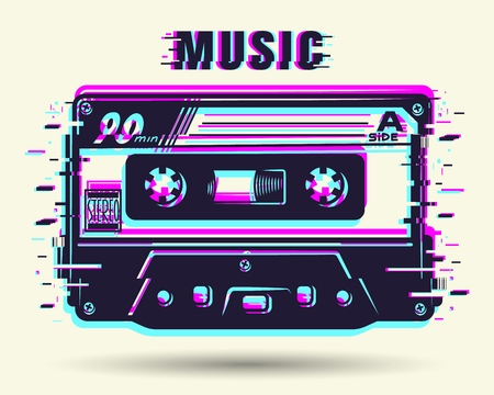 Cassette with glitch effect illustration