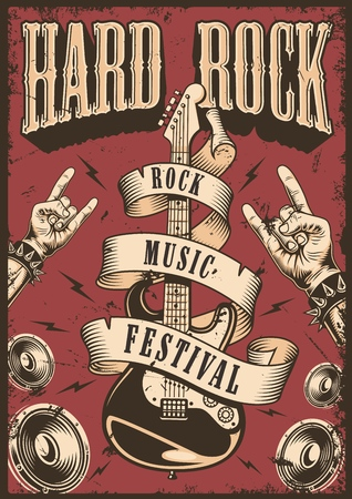 Rock and roll poster emblem Stock Illustratie