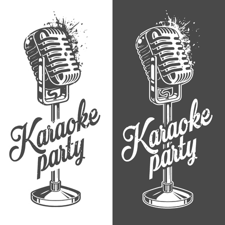 Karaoke banner with grunge effect Vectores