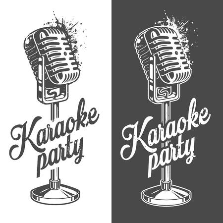 Karaoke banner with grunge effect Illustration