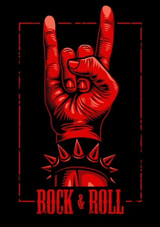 Hand in rock n roll sign emblem Ilustrace