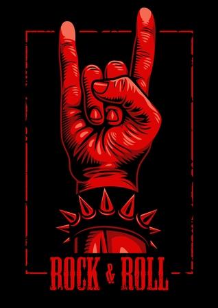 Hand in rock n roll sign emblem Illustration