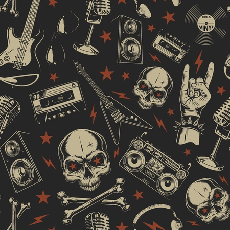 Grunge seamless pattern with skulls