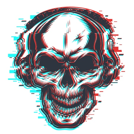 Skull with headphones emblem Illustration
