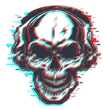 Skull with headphones emblem Vectores