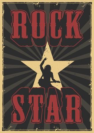 Rock star grunge poster emblem