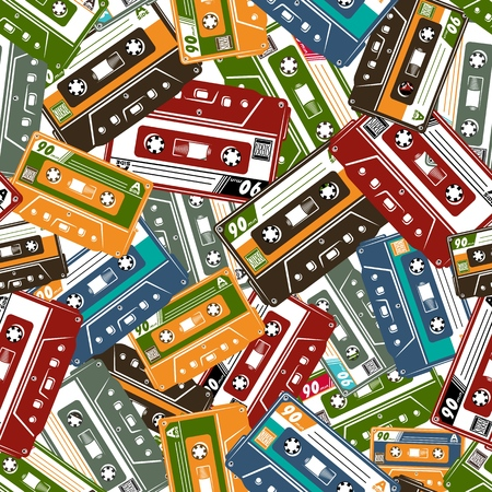 Cassette Tape Seamless pattern