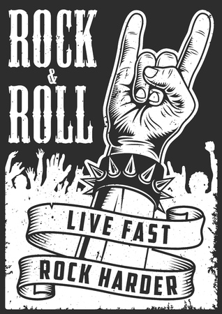 Hand in rock n roll sign  イラスト・ベクター素材