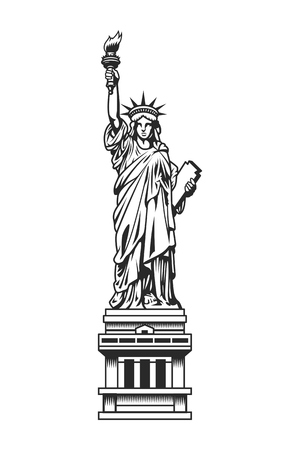 Vintage Statue of Liberty template Çizim