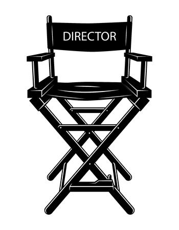 Vintage monochrome movie director chair concept Illustration