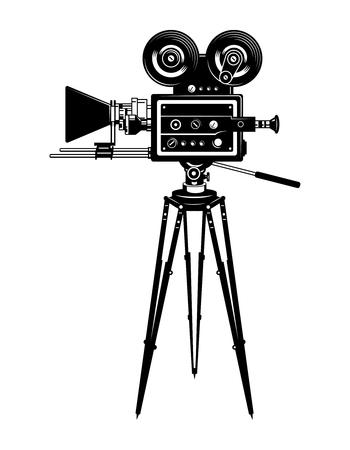Cinema movie camera side view template Illustration