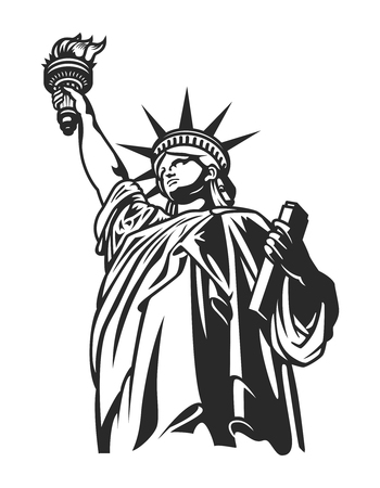 Monochrome American Statue of Liberty concept Illustration