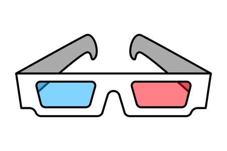 Colorful 3d cinema eye glasses concept