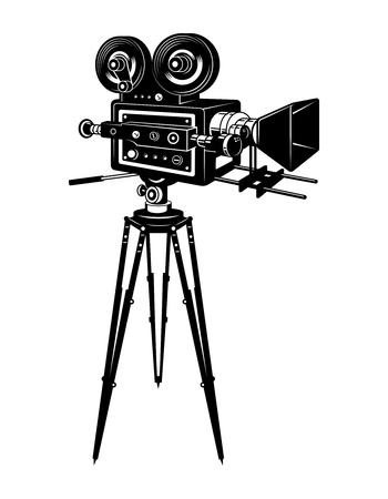 Retro movie camera concept Illustration