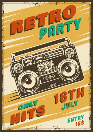 Retro party poster with tape recorder
