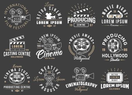 Set of cinema vintage emblems.