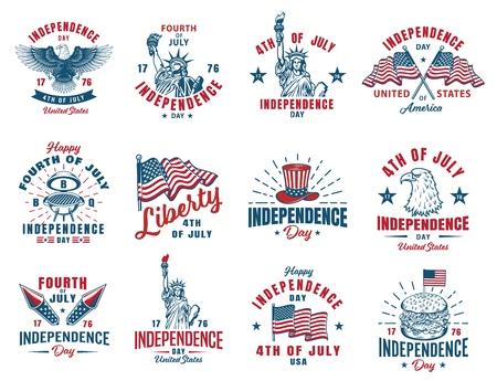 Set of 4th july emblem